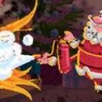 Santa extinguishing fireplace