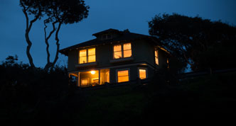 House lit at night
